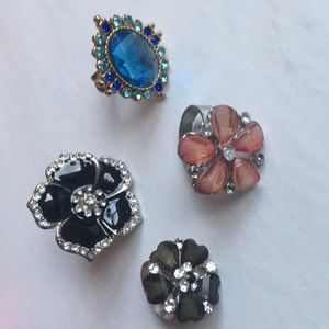 Jewelry - 2/$15🔥four cocktail rings blue black pink flower